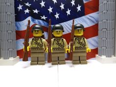 LEGO 3x WWII American First Infantrymen with M1 Garands, M1 Helmets & Backpacks #LEGO