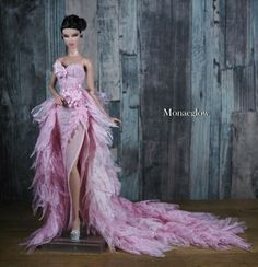 Handmade Outfit for Fashion model muse doll by Monaeglow Dolly Dress, Barbie Dress, Barbie Clothes, Pink Dress, Fashion Royalty Dolls, Fashion Dolls, Fashion Dresses, Black King And Queen, Barbie Model