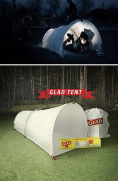 A glad trash bag tent...  Yep, you heard me...  For music festivals and temporary camping.  Then after, you use it to pick up trash.