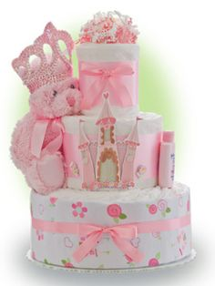 A princess is born! No better way to welcome the newsweetheart  into the royal family than by sending her our Lil' Princess 3 tier diaper cake. Only $67.00