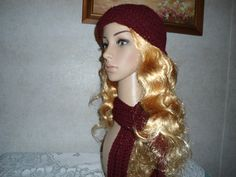 Thickly Crocheted Warm Brick Red Hat and by simplepleasantthings