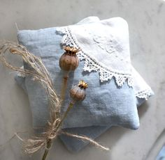 Pair of Lavender Sachets. Organic French Lavender. Vintage French Handmade Lace Detail.