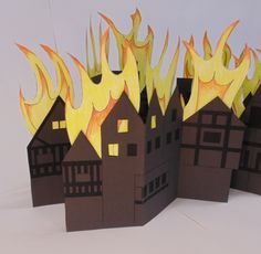 Great Fire of London craft project for primary school teachers. Fire London, Great Fire Of London, The Great Fire, School Art Projects, Projects For Kids, Craft Projects, Crafts For Kids, School Ideas, Craft Ideas