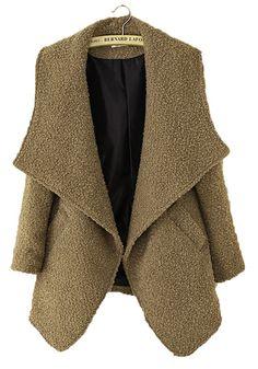 ++ Camel Pockets Turndown Collar Long Sleeve Wool Coat