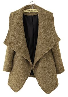 Camel Pockets Turndown Collar Long Sleeve Wool Coat
