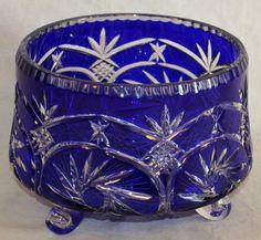 Bohemian cobalt to clear cut glass bowl having a cobalt blue ground pinwheel design clear feet. Fenton Glass, Glass Ceramic, Cobalt Glass, Cobalt Blue, Cut Glass, Glass Art, Bleu Royal, Crystal Glassware, Carnival Glass