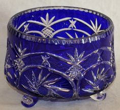 BOHEMIAN COBALT TO CLEAR CUT GLASS BOWL HAVING A COBALT BLUE GROUND WITH PINWHEEL DESIGN, CLEAR FEET