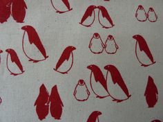 Christmas Fabric Scandi Penguins Red