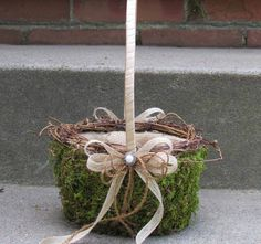 Large Moss Basket with Burlap for Flower Girl by justanns on Etsy, $40.00