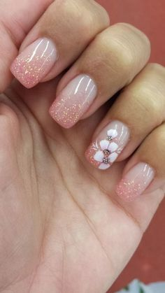 Nail Art Ideas... Spring Nail Art, Spring Nails, Rose Nails, 3d Flower Nails, Flower Nail Designs, Simple Nail Art Designs, Glitter Nails, 3d Nails, Purple Glitter
