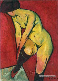 German Expressionism. Nude with Garter, 1909 // by Adolf Erbsloh