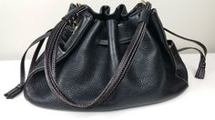 KATE SPADE ANNE FOSTER Crossing Drawstring Embossed Leather Hobo Handbag Purse