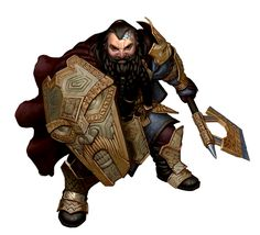 Male Dwarf Axe and Shield Fighter - Pathfinder PFRPG DND D&D d20 fantasy