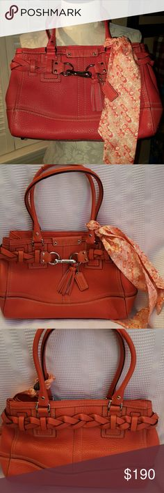 UNIQUE 🌷Coach Hampton Braided Leather Carryall Gorgeous and perfect condition Pebbled Leather.  Only carried a few times.  The color is salmon.  Depending on the light, it looks pink, orange or muted red.  It is beautiful.  No marks or spots on interior or exterior.  Scarf is in perfect condition too.  Detachable Zipper close.  Interior has 2 pockets plus zipper pouch.  No wear on corners.  Has been cleaned and conditioned. Coach Bags