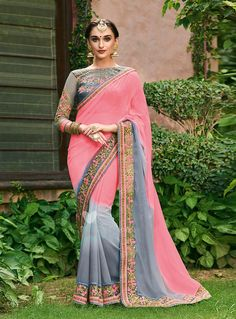 Pink Chiffon Patch Lace Work Saree 102544