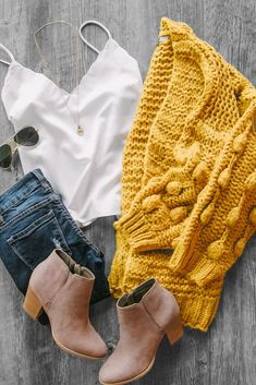Little By Little Mustard Bubble Knit Cardigan Mustard bubble knit cardigan outfit with white satin tank top and brown booties! Casual cute outfit for school. Throw on a pair of jeans and you've got the perfect fall layering outfit! Winter Outfits For Teen Girls, Cute Outfits For School, Cute Winter Outfits, Outfits For Teens, Summer Outfits, Outfit Winter, Dress Outfits, Casual Outfits, Fashion Outfits