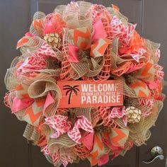 deco mesh wreaths Summer Deco Mesh Wreath, Patio Deco Mesh Wreath, Pool Deco Mesh Wreath, Beach Deco Mesh Wreath, Tropical Deco Mesh Wreath Where's your Paradise? This wreath is b Summer Deco, Spring Summer, Wreath Crafts, Diy Wreath, Wreath Ideas, Wreath Making, Summer Crafts, Diy And Crafts, Plywood Furniture