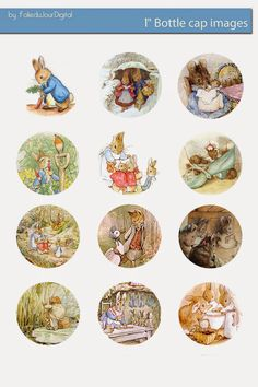 Free Bottle Cap Images: Beatrix Potter bottle cap images digital download - Peter Rabbit