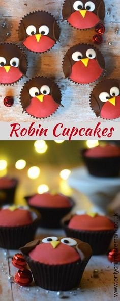 How to make easy Christmas Robin Cupcakes with fondant applied to a chocolate orange cupcake.ato