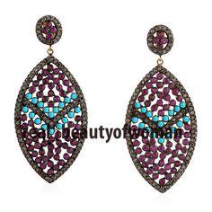 Art Nouveau 3.88cts Pave Rose Cut Diamond Turquoise Ruby Awesome Earrings Dangle #realbeautyofwoman