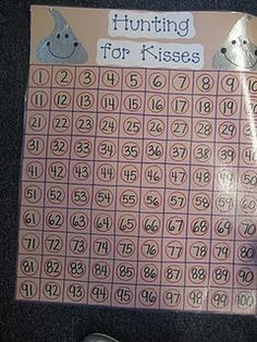 Use a circle sticker for the bottom of the kiss and number them from 1-100.  Then hide them throughout the room and search for them all day.