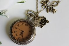 *Steampunk Victorian Style Pocket Watch Necklace with Owl and Rose Flower Charm