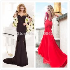 2014 Delicate Lace Sheer Back Long Sleeves Sexy Black Evening Gown Mermaid Prom Dress with Detachable Train