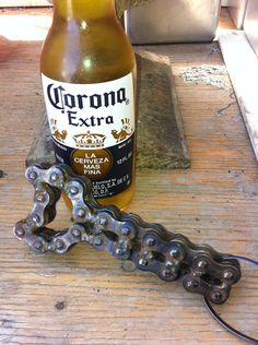 Repurposed Motorcycle Chain Bottle Opener by PrettyGrittyVintage Welding Crafts, Welding Art, Welding Projects, Metal Projects, Metal Crafts, Projects To Try, Garage Art, Garage Ideas, Steel Art
