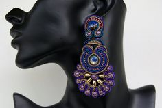 RESERVED FOR LARA - Soutache Ear Clips - Fairy Tales of the Orient