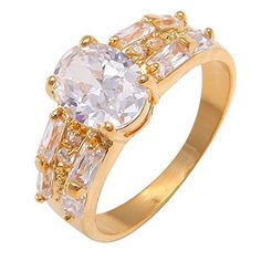 Followmoon 18K Gold Plated Use Cubic Zirconia Engagement Wedding Ring