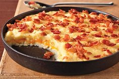 Make a mashed potato casserole with just 5 ingredients! Bacon, sour cream and cheddar help our Cheddar-Mashed Potato Casserole to be so delicious.
