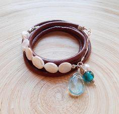 Perla multi wrap leather pearl bracelet gemstone beaded multi
