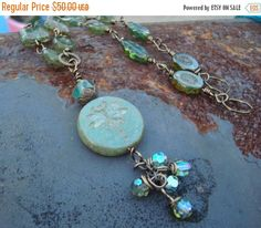 Birthday Sale Czech glass and Dragonfly Necklace \\  Rivers Edge \\  Nature Inspired Boho Jewelry\\   Tassel Necklace\\   Woodland Necklace\
