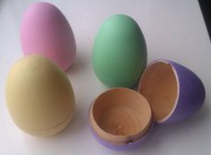 Hollow wooden easter eggs two part eggs by CalicoBespokeGifts