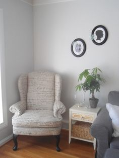Lighter and brighter neutral Living room - paint color Benjamin Moore Gray Owl at 50% / 50 percent / half tint / half strength on walls, BM simply white on trim. French script wingback chair, super easy to take care of houseplant / money tree with braided trunk, diy kids silhouettes