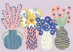Orie Kawamura【Flower arrangement1】#illust #textile #design #花 #botanical #植物 #イラスト #北欧デザイン #北欧イラスト #テキスタイル Botanical Art, Scenery, Wallpaper, Simple, Flowers, Hiroshima, Plants, Pattern, Animals