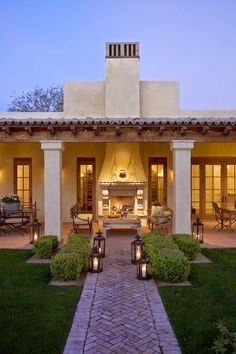 Outdoor living house at night in Arizona