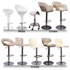 New CREAM WHITE Faux Leather ABS Kitchen Breakfast Bar Stools Barstools Chrome