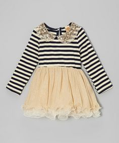 Navy & Crème Stripe Sequin Collar Tulle Dress - Toddler & Girls by Mia Belle Baby