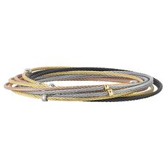 CHARRIOL Modern Mix Collection: Yellow gold grey, black, blush and yellow stainless steel cable slip-on bangle Unique Bracelets, Bangle Bracelets, Bangles, Unique Jewelry, Charriol, Diamond District, Stainless Steel Cable, Mesh Bracelet, Cable Wire