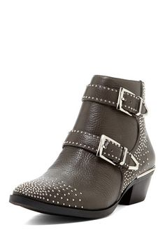 Tema Stud Buckle Leather Bootie by Vince Camuto on @HauteLook. Love that they are brown. They also have them with gold studs and buckles but I like the silver better.