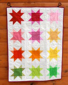 Ombre Rainbow Stars Baby Quilt