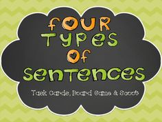 Four Types of Sentences Game School Resources, Teaching Resources, Grammar Games, Types Of Sentences, Easel Activities, Task Cards, Teacher Newsletter, Teacher Pay Teachers, Board Games
