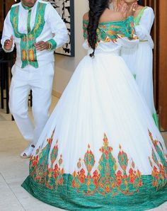 Designed by yohannes Sister African Prom Dresses, African Wedding Dress, African Fashion Dresses, Traditional Wedding Dresses, Traditional Clothes, African Wear, African Dress, Habesha Kemis, Ethiopian Traditional Dress