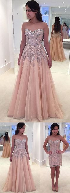 Gorgeous Beads Lace Formal Evening Dress Sleeveless Sweetheart Prom Dress M1450#prom #promdress #promdresses #longpromdress #promgowns #promgown #2018style #newfashion #newstyles #2018newprom #eveninggown #beads #aline #sweetheartneck #strapless #lace