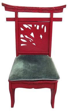 One Kings Lane - Eastern Influence - Red Carved Chinese Chair