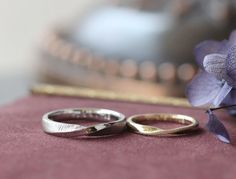 プラチナとゴールド:フォルムがお揃いの結婚指輪(オーダーメイド/手作り) [マリッジリング marriage ring wedding bridal Pt900 K18 gold ]