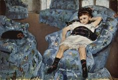 Mary Cassatt- we had this hanging in our house when I was little !! We actually had this furniture and a dog like this !