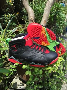 big sale 1fe80 b5afb 2018 Really Cheap Air Jordan 7 Marvin the Martian Black Red Poison Green  304775 029 Size