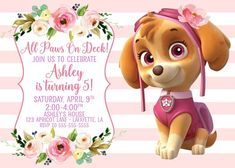 Skye Paw Patrol Cake, Sky Paw Patrol, Paw Patrol Party, Paw Patrol Birthday Girl, Paw Patrol Birthday Invitations, Baby Birthday, Trampoline Birthday Party, Paw Patrol Characters, Digital Invitations